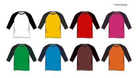 Raglan shirt blank Templates. Colorful, vector image Royalty Free Stock Photos