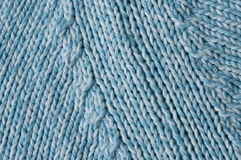 Raglan sleeve seam knitted. Knitted raglan sleeve seam close up light blue and white mixed Royalty Free Stock Images