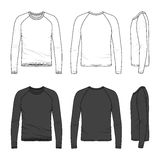 Raglan sleeve top. Blank men's raglan sleeve top in front, back and side views. Vector illustration. Isolated on white Stock Photo