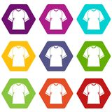 Raglan tshirt icon set color hexahedron Stock Photography