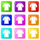 Raglan tshirt icons 9 set Royalty Free Stock Photo