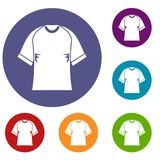Raglan tshirt icons set. In flat circle red, blue and green color for web Royalty Free Stock Photo
