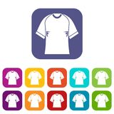 Raglan tshirt icons set flat Royalty Free Stock Photography