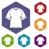Raglan tshirt icons set hexagon Royalty Free Stock Image