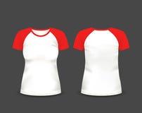 Raglant-shirt der Frauen in der Front und in den hinteren Ansichten Rand der Farbband-, Lorbeer- und Eichenblätter Völlig editabl Stock Abbildung
