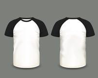 Raglant-shirt der Männer in der Front und in den hinteren Ansichten Rand der Farbband-, Lorbeer- und Eichenblätter Völlig editabl Lizenzfreie Abbildung