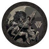 ragnarok Batalla de dios Odin con el lobo Fenrir Ejemplo de la mitología nórdica stock de ilustración