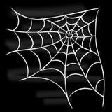 Ragnatela bianca di Halloween su fondo nero Fotografia Stock Libera da Diritti