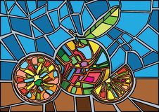 0ragne gebrandschilderd glasillustratie royalty-vrije illustratie