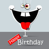Ragno divertente di sorriso della carta di buon compleanno Immagine Stock