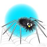 Ragno e spiderweb neri - illustrazione dei bambini Immagine Stock