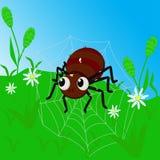 Ragno su un web fra erba - illustrazione di vettore, ENV illustrazione di stock