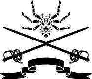 Ragno, una spada e uno stampino del nastro Immagini Stock Libere da Diritti