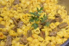 Ragoût de macaronis avec de la viande image stock