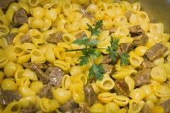 Ragoût de macaronis avec de la viande image libre de droits