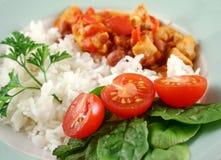 Ragoût de poulet et de lentille avec du riz 1 Photo libre de droits