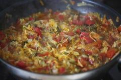 Ragoût végétal chaud dans la poêle Photographie stock