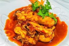 Ragoût de poulet avec du lait de noix de coco et l'herbe épicée indienne Images libres de droits