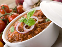 Ragout sauce. With basil on bowl Stock Images