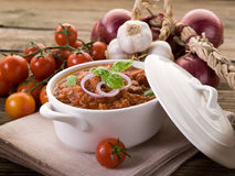 Ragout sauce. With basil on bowl Royalty Free Stock Photography