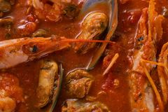 Ragout with shrimps and shellfish in tomato sauce. Appetizing seafood ragout. Stock Photo