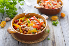 Ragout from turkey and sweet peppers Stock Photos