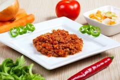Ragout und Gemüse in einem Teller Lizenzfreies Stockfoto