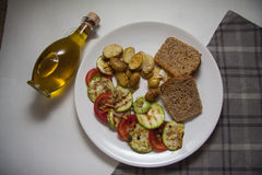 Ragout of zucchini on plate Royalty Free Stock Photo