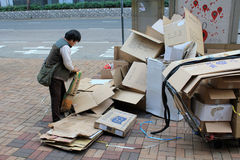 Ragpicker person in Hong Kong Royalty Free Stock Photos