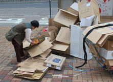 Ragpicker person in Hong Kong Royalty Free Stock Images