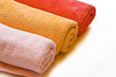 Rags for cleaning. Microfiber, colored rags for cleaning. Background Stock Images
