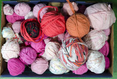 Rags. Of different color for use in a loom when weaving carpets, photo from the North of Sweden Stock Photos