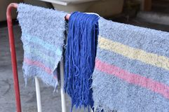 Rags and dust cleaning cloth. Are drought in the air and sun to make them dry out Royalty Free Stock Photos