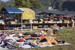 Rags and household items for sale at an outdoor market, Jablanica, Bosnia and Herzegovina Royalty Free Stock Images