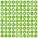 100 rags icons hexagon green. 100 rags icons set in green hexagon isolated vector illustration Stock Photos