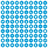 100 rags icons set blue. 100 rags icons set in blue hexagon isolated vector illustration Royalty Free Stock Image