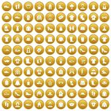 100 rags icons set gold. 100 rags icons set in gold circle isolated on white vectr illustration Stock Photo