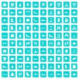100 rags icons set grunge blue Stock Photos