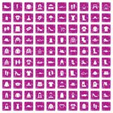 100 rags icons set grunge pink. 100 rags icons set in grunge style pink color isolated on white background vector illustration Stock Photography