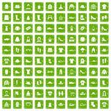 100 rags icons set grunge green. 100 rags icons set in grunge style green color isolated on white background vector illustration royalty free illustration