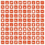 100 rags icons set grunge orange. 100 rags icons set in grunge style orange color isolated on white background vector illustration Royalty Free Stock Images