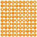 100 rags icons set orange. 100 rags icons set in orange circle isolated vector illustration stock illustration