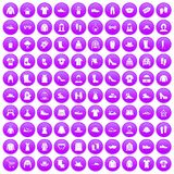 100 rags icons set purple. 100 rags icons set in purple circle isolated vector illustration Royalty Free Stock Images