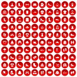 100 rags icons set red. 100 rags icons set in red circle isolated on white vectr illustration royalty free illustration