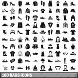 100 rags icons set, simple style. 100 rags icons set in simple style for any design vector illustration Royalty Free Stock Photos