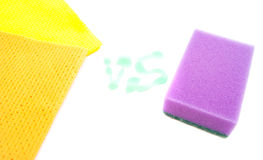 Rags and purpple sponge Royalty Free Stock Photos