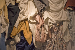 Rags and tatters. Textile material for recycling and for the production of cotton-rag paper - shallow DOF Royalty Free Stock Photography