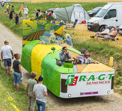 RAGT Semences Vehicle on a Cobblestone Road- Tour de France 2015 Stock Photo