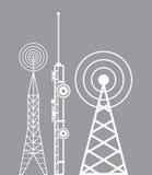 Ragt Telekommunikationsfernsehradio hoch Stockfotos
