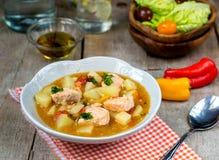 Ragu för lax för fisk för Marmitako tonfiskkruka med potatisar Royaltyfria Bilder